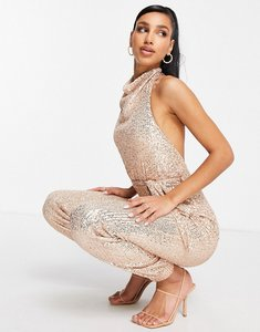 Read more about Club l london sequin high neck cuffed detail jumpsuit in rose gold