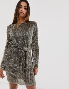 Read more about Club l london sequin plisse belted mini dress in matt gold