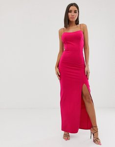 Read more about Club l london square neck midaxi dress in fuschia-pink