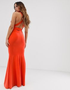Read more about Club l london strappy cross back maxi dress in orange