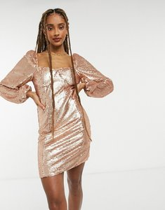 Read more about Collective the label long sleeve sequin mini shift dress in sequin-gold