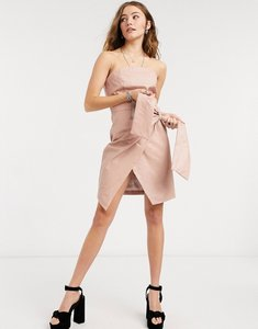 Read more about Collective the label pu bandeau wrap mini dress with waist tie detail in taupe-neutral