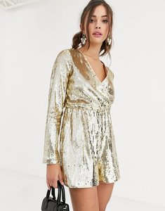 Read more about Collective the label wrap sequin playsuit in gold