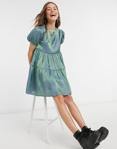 Read more about Daisy street relaxed mini smock dress with puff sleeves in iridescent-blue