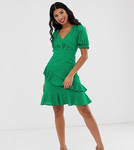 Read more about Dark pink milkmaid anglaise mini dress in green