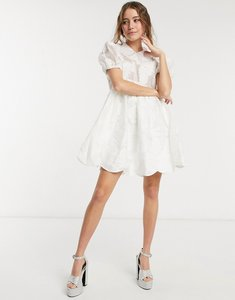 Read more about Dream sister jane mini smock dress with bib collar and embellishment in white