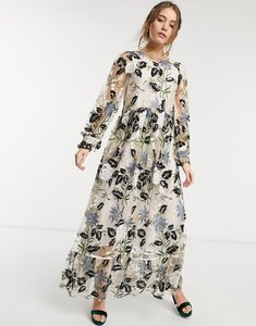 Read more about Dream sister jane sheer maxi dress with floral sequin embellishment in multi