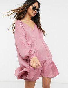 Read more about Esmee exclusive mini tried smock dress with long sleeve in dusky pink