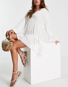 Read more about Esmee exclusive mini tried smock dress with long sleeve in white