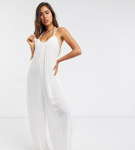 Read more about Esmee exclusive relaxed beach jumpsuit in white