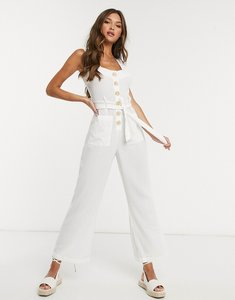 Read more about Fashion union exclusive button up beach jumpsuit in white