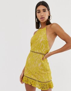Read more about Fashion union high neck lace dress with low back-yellow