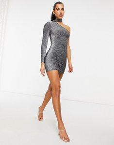 Read more about Fashionkilla glitter choker detail one shoulder mini dress in silver