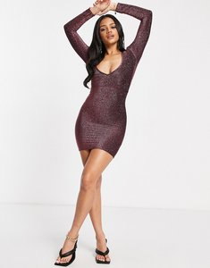 Read more about Fashionkilla glitter plunge front mini bodycon dress with ruched bum detail in rose-pink