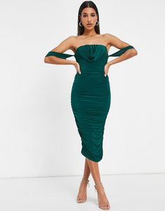 Read more about Femme luxe bodycon dress with drape detail in emerald green
