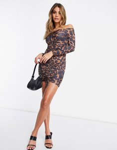 Read more about Femme luxe off shoulder long sleeve mini dress in leopard print-multi