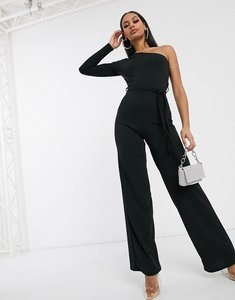 Read more about Femme luxe one shoulder wide leg jumpsuit in black