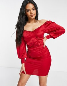 Read more about Femme luxe satin wrap detail mini dress with volume sleeves in red