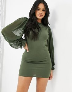 Read more about Femme luxe sheer volume sleeve mini dress in khaki-green