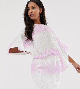 Read more about Flounce london sequin batwing mini dress in ombre sequin-multi