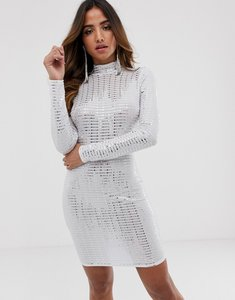 Read more about Flounce london statement shoulder mini dress in white metallic