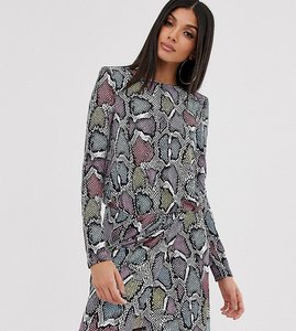 Read more about Flounce london tall wrap front mini dress with statement shoulder in multi snake