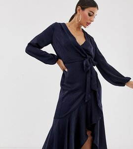 Read more about Flounce london wrap front midi dress in navy