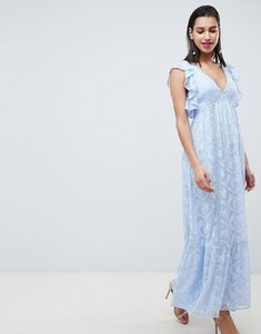 Read more about Forever new embroidered maxi dress with ruffle detail-blue