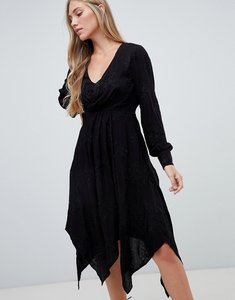 Read more about Forever new embroidered midi wrap dress in black