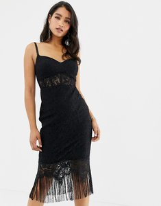 Read more about Forever new lace corset midi dress with tassel hem in black