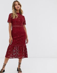 Read more about Forever new lace midi panel dress in raspberry-red