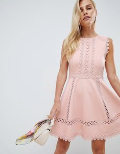 Read more about Forever new lace trim skater prom dress in pink