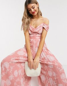 Read more about Forever new pleated wide leg jumpsuit in pink floral