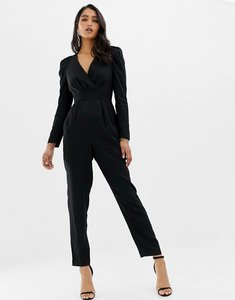 Read more about Forever new plunge neck jumpsuit in textured leopard print-black