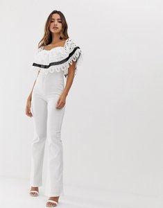 Read more about Forever u bardot jumpsuit with crochet lace trim-white