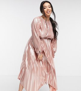 Read more about Forever u curve metallic pleated dress in rose gold-pink