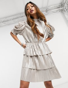 Read more about Forever u metallic tiered mini dress in champagne-white