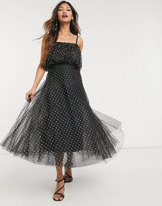 Read more about Forever u organza ruffle midi dress with gold spots in black