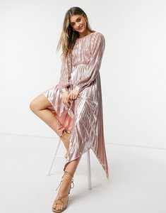 Read more about Forever u pleated metallic dress with cut out detail in rose gold-pink