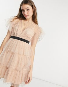 Read more about Forever u tiered dobby mini dress with flutter sleeve and contrast waistband in rose gold-pink