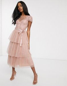 Read more about Forever u tiered lace midi dress with waist bow detail in blush pink
