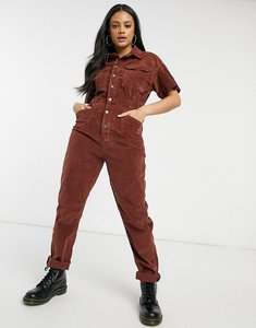 Read more about Free people marci cord buttondown jumpsuit in brown