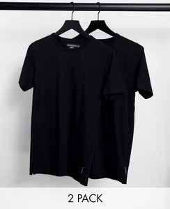 Read more about French connection 2 pack crew neck t-shirt in black