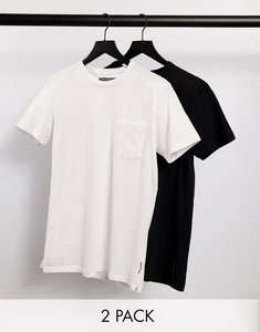 Read more about French connection 2 pack pocket t-shirt in black white-multi