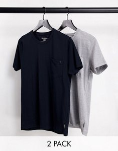 Read more about French connection 2 pack pocket t-shirt navy light grey-multi
