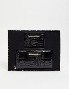 Read more about French connection branded purse and card holder set in black croc