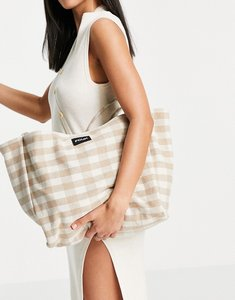 Read more about French connection canvas tote bag in oatmeal and white gingham-multi
