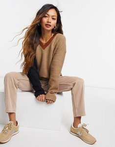 Read more about French connection colour block knitted v-neck in beige-neutral