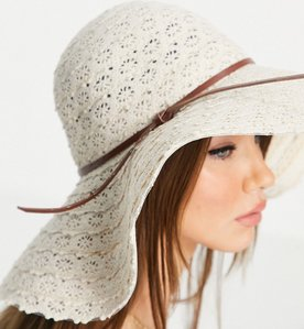 Read more about French connection cotton patterned floppy hat in natural-neutral