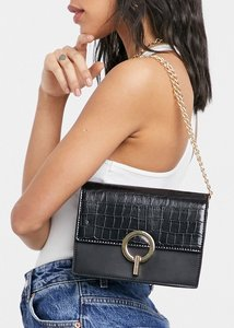 Read more about French connection croc crossbody bag with clasp in black